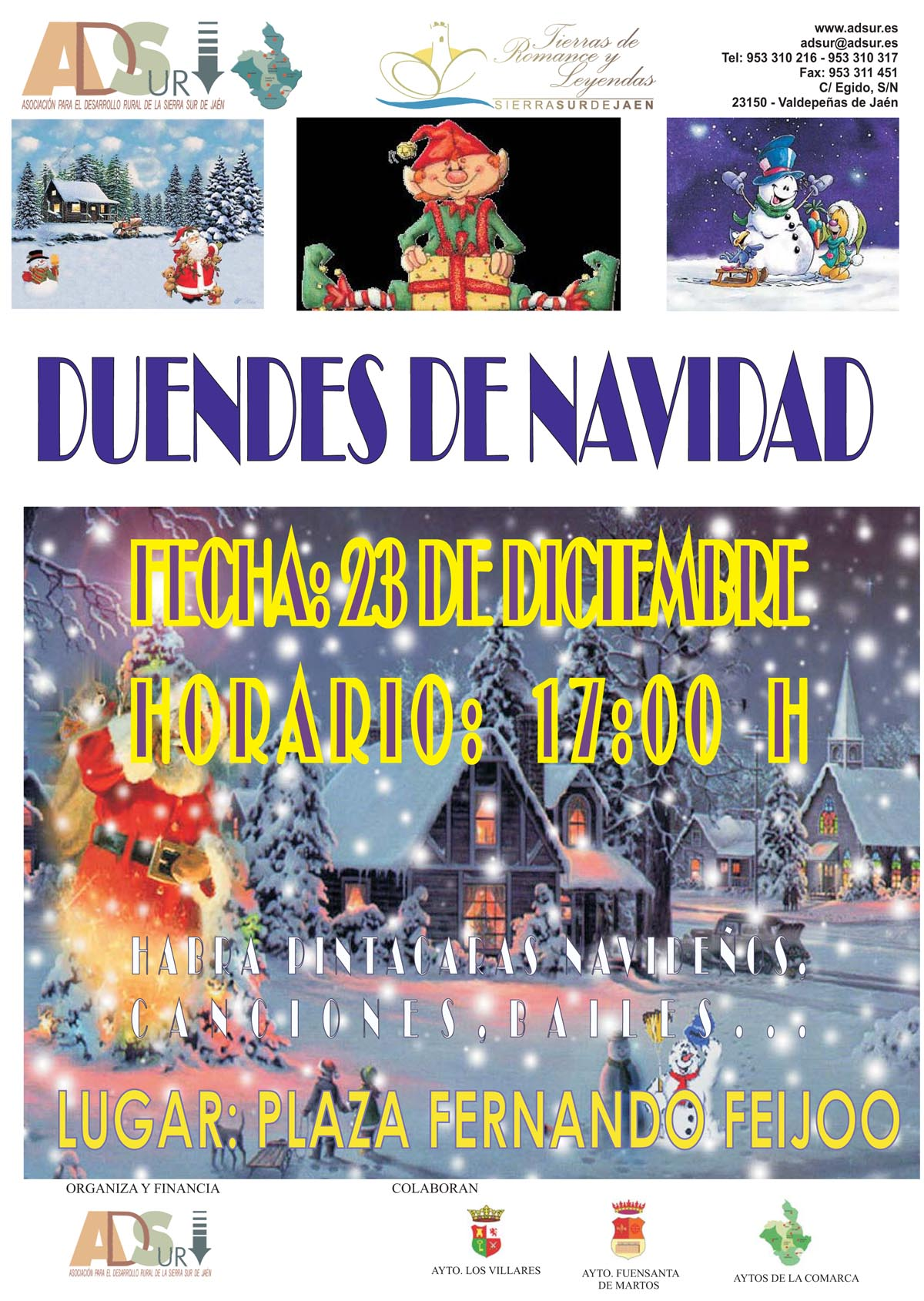 Cartel Duendes de Santa Claus...