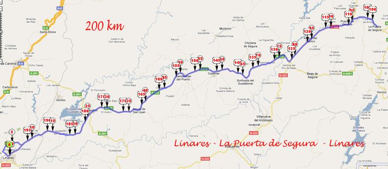 mapa recorrido brevet 200 km