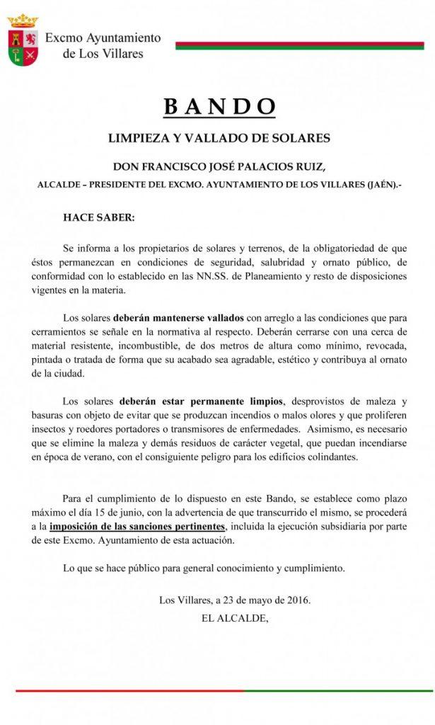 BANDO LIMPIEZA Y VALLADO SOLARES